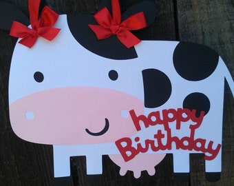 Farm Door Sign, Cow Door sign, Door hanger.  Farm Happy Birthday sign.  Cow Happy Birthday Sign.  Personalized Birthday Sign