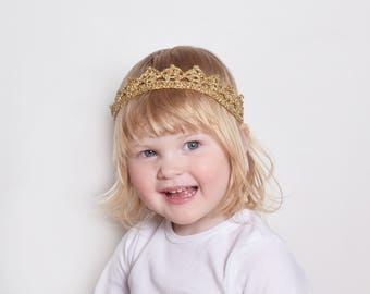 Flower Girl Toddler Crown Headband, Flower Girl Crown Gold, Flower Girl Head Piece, Gold Tiara Headband, Flower Girl Gift, Silver Tiara