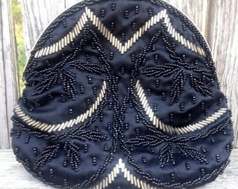 Vintage black satin beaded kiss lock evening bag, no chain