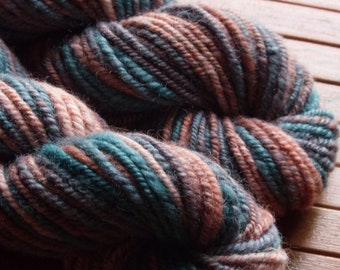 Handspun yarn, handspun wool,  hand dyed handspun yarn,  purple and green handspun yarn, bluefaced leicester wool, british wool