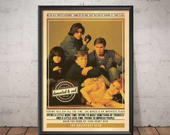 The Breakfast Club Poster - Quote Retro Movie Poster - Movie Print, Film Poster, Wall Art