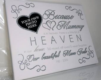 Personalised remembrance picture gift In memory keepsake bespoke heaven quote memorial