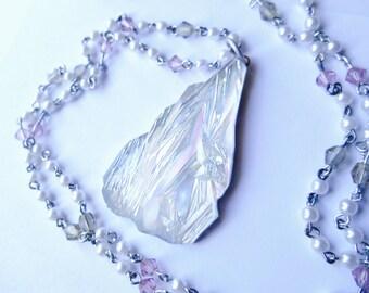Iceberg necklace, Ice Storm Necklace, Vintage Pendant, Vintage Chain