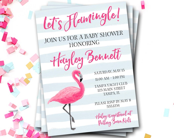 Flamingo Baby Shower Invitation, Flamingo Invitation, Preppy Baby Shower Invitation, Pink And Blue Baby Shower,Flamingo Invite,DIY Printable