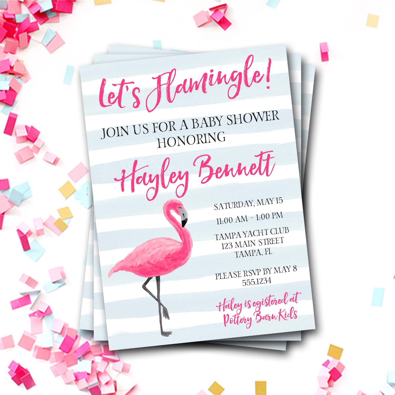 Flamingo Baby Shower Invitation, Flamingo Invitation, Preppy Baby Shower  Invitation, Pink And Blue Baby Shower,Flamingo Invite,DIY Printable