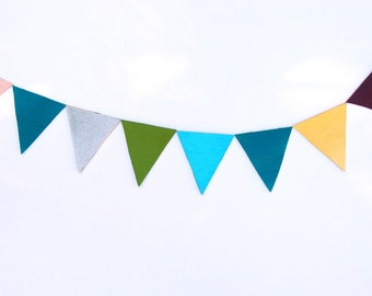 Bunting Banner Fridge Magnets - Colorful Set of 8
