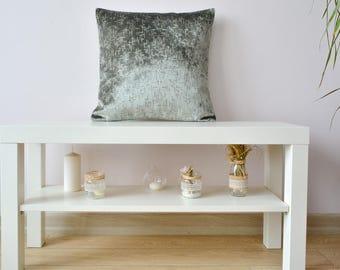 grey velvet pillow, grey velvet cushion cover, accent throw pillow, decorative designer pillow, bright luxury velvet  16x16, 18x18, 20x20