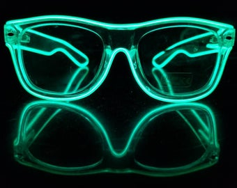 Rayban style CLEAR Light-Up Glasses,EL Wire,Neon,Glow,Rave,Festival,Party,Concert,Wayfarer clone,GREEN,Led,Burning Man,Night,Halloween