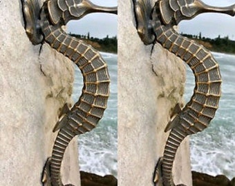 """2 large SEAHORSE solid brass door old style house PULL handle 13"""" heavy aged"""