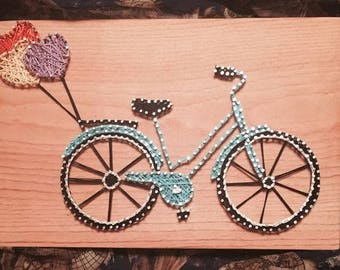 Custom bicycle String Art with Hearts