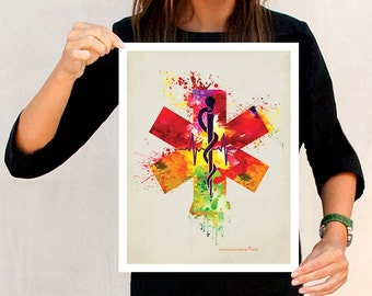 """Rod of Asclepius with the Star of Life - Watercolor - 11"""" x 14"""" Medical print, Nurse Graduation gift, Paramedics gift, EMT gift, EMS gift"""