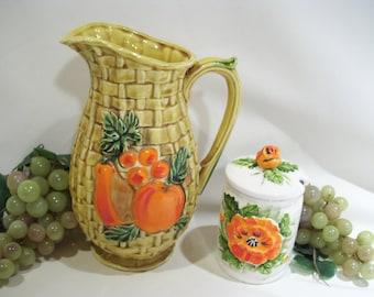 Vintage Lefton Ceramic Pitcher in Rich Beige Caramel Color,Basket weave Design,Tropical,Orange Fruits,5293