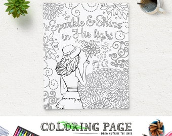 coloring page printable bible verse sparkle and shine in his light instant download kids coloring pages printable bible quote art therapy