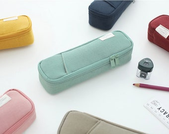 Cotton Pencil Case [6Colors]/ Pen case / Pencil Pouch / Pen Pouch / Zipper Pouch / Zipper Bag / Makeup Bag / Makeup Pouch / School Supplies