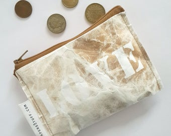 gold love, love you, mothers day, gift for mother, fashion accessories, eco-friendly purse, zipper coin purse, one off item, washable paper