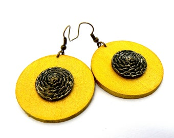 Wooden earrings,Painted Earrings, Wooden Jewelry, Trendy Jewelry, Painting jewelry