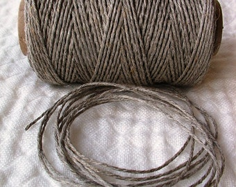 Organic Flax Linen Cord Thread Ecru--Spool 100 g 1 mm --all DIY projects--Linen from Lithuania