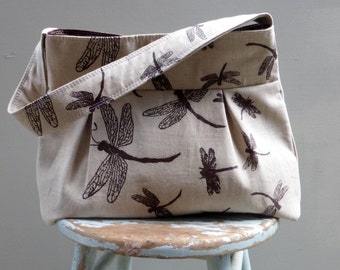 Dragonfly Fabric Linen Purse - Hand Printed - Handmade in America - Market Bag Purse Diaper Bag