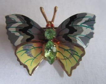 Vintage Czechoslovakia Butterfly Brooch Pin Green Rhinestone Body Czech