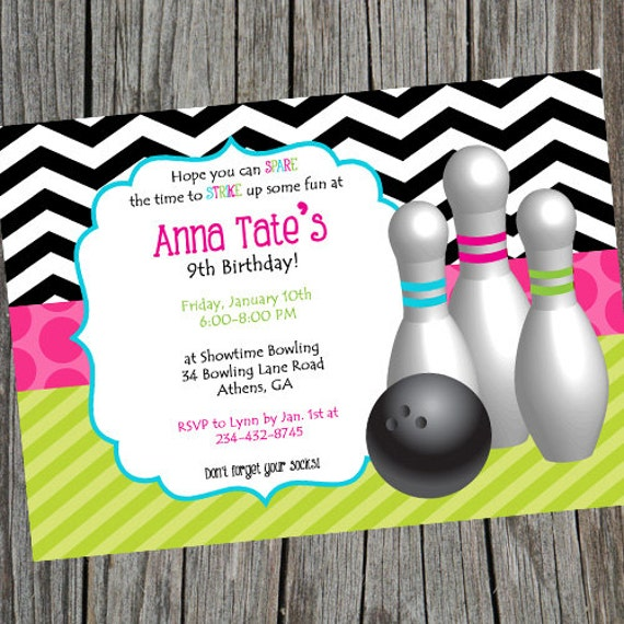 Bowling Invitation Girls Bowling Invite Bowling Party