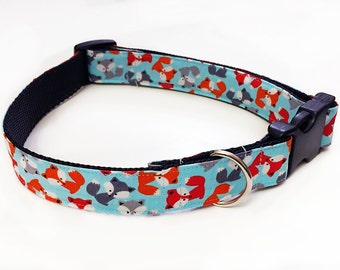 Cute LittleFoxes!  Multicolored - Handmade MARTINGALE or BUCKLE dog collar