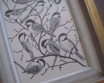Vintage Framed Black and White Bird Print Artwork
