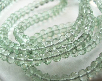 Green Amethyst Rondelles, AAA,  Micro Faceted 3-5mm Rondelles