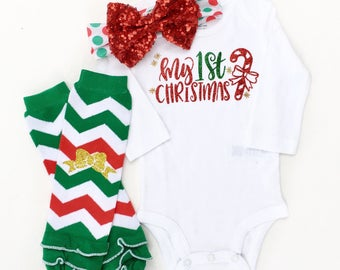 Baby Girl Christmas Outfit, My First Christmas, Girls First Christmas Outfit,  Baby 1st Christmas, Newborn Christmas Outfit, Christmas Bow