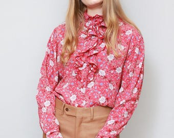 Vintage 1970's Silky Red Floral Print Ruffle Blouse