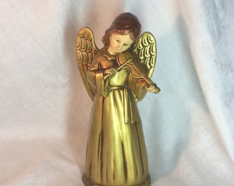 Vintage Christmas Paper Mache Gold Angel with Violin 10 inches Tall
