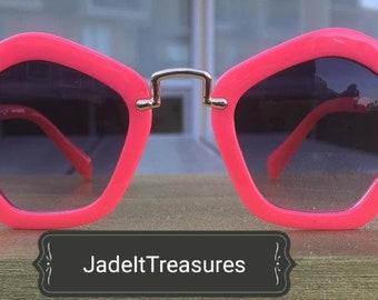 Pink Pentagon Sunglasses, Unique, Stylish and Trendy Shades