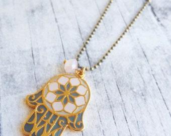 Hamsa necklace, boho necklace, pendant necklace, everyday necklace, boho necklace, enamel necklace, fatima hand, long bohemian necklace, her