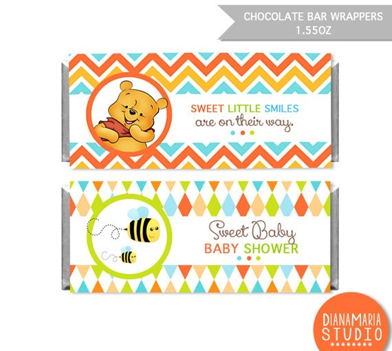 Chocolate bar wrapper winnie the pooh printable candy wrapper label for winnie the pooh baby shower diy