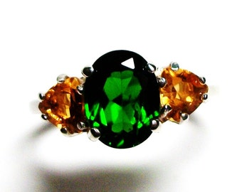 """Chrome diopside, chrome accent ring, chrome and citrine ring, 3 stone ring anniversary ring  green gold, s 6 1/2   """"Wild Flowers"""""""