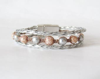 Macrame and leather Cuff Bracelet, silver gray and pink