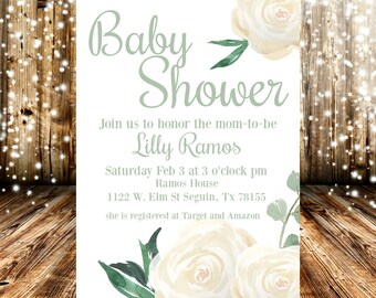 Gender Neutral Green and White Floral Baby Shower Invitation