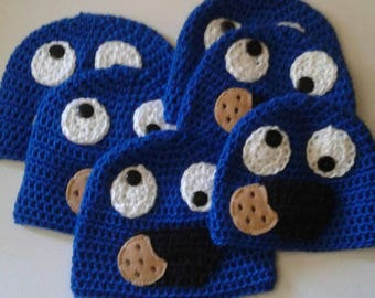 I want cookie, blue hat, cookie party hats, sesame hats, toddler hats, baby hats, adult hat