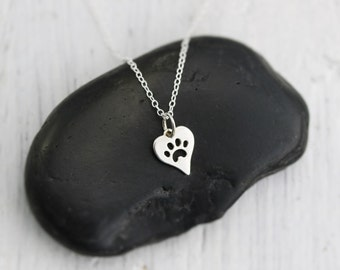 Heart Paw Print Necklace - Sterling Silver Heart with Paw Print Necklace - Tiny Heart Paw Print Cat Dog Lovers Jewelry Pet Memorial Necklace