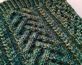Hand knit cowl scarf | Lace & cable cowl scarf | Womens scarf | Jade green | Light green
