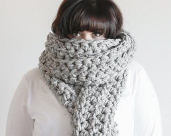 Chunky Crochet Scarf Wrap Huge Oversized Cowl | THE ANNAN in Mushroom