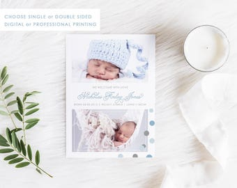 Digital Birth Announcement Card, Printable Baby Thank You, Baby Boy Card, Photo Announcement, Free Colour Changes, Multiple Photos