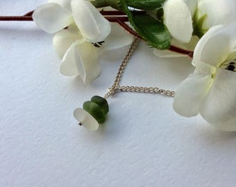 Green white sea glass necklace pendant seaham English seaglass stacking mermaids tears uk ocean beach silver  plated  925 sterling gift her