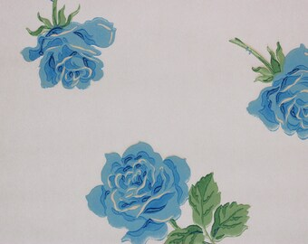 1930s Vintage Wallpaper Blue Roses on White by the Yard