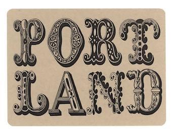 5 Postcards, Portlandia, Vintage Lettering, PDX