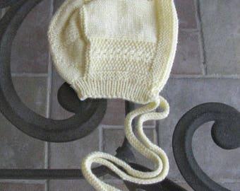 Baby Boy or Girl Merino Wool, White Bonnet, Newborn - 3 months  - Original Design, Vintage-Inspired, Hand Knit - READY TO SHIP