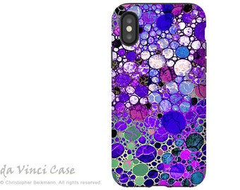 Purple Bubble Abstract - Artistic iPhone X Tough Case - Dual Layer Protection for Apple iPhone 10 - Grape Bubbles by Da Vinci Case