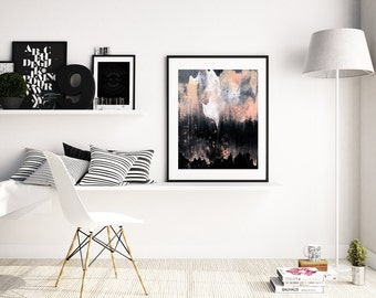 Art abstrait «Fantôme dans les montagnes» par Jules Tillman Fine Art Print Lustre tableau abstrait et minimal aquarelle blanc rose, gris, noir