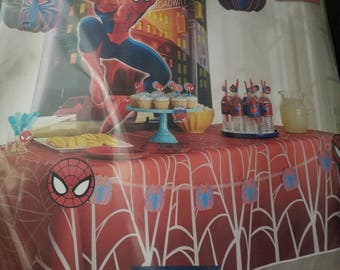 Spiderman party decorations - party kit.- for boys - super hero - marvel comic - table cloth -  backdrop -  hanging decorations