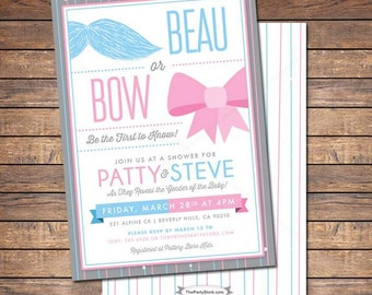 Printable Gender Reveal Invitations: Custom Beau or Bow Themed Baby Shower Invite, mustache, blue, pink, more Invites and games available