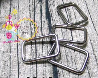 20 x Stirrups 2.5x1.5cmx2.8mm silver rectangular shaped loop ring